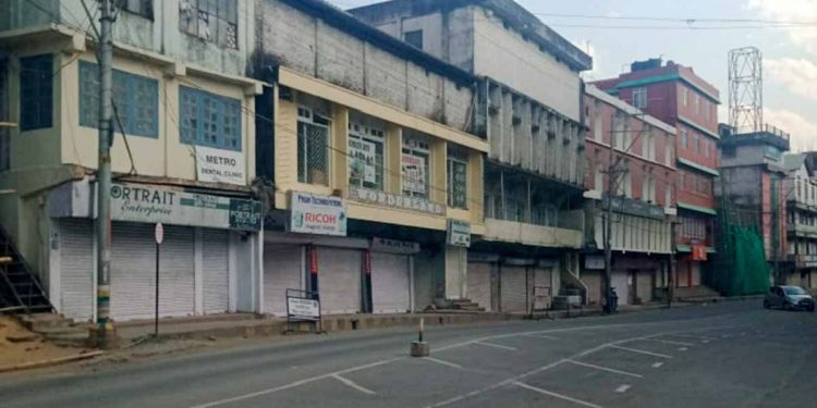A deserted street of Dimapur. Image: Northeast Now