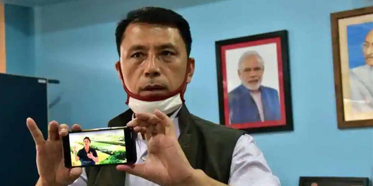 Manipur education Minister Dr Th Radheshyam after the launch of first educational TV channel of the state. Image credit: Hindustan Times