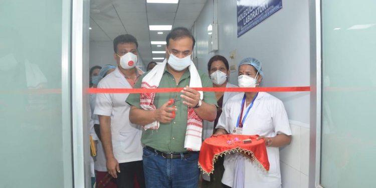Himanta Biswa Sarma inaugurating new COVID-19 testing lab in Guwahati. Image credit; Twitter