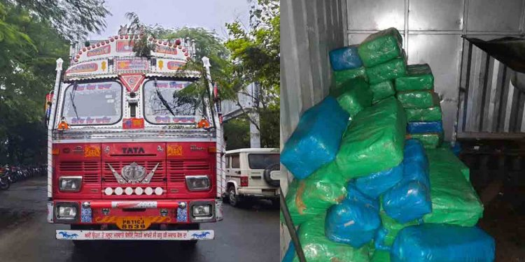 The truck (left) from where the cannabis (right) was seized in Kokrajhar, Assam. Image: Northeast Now