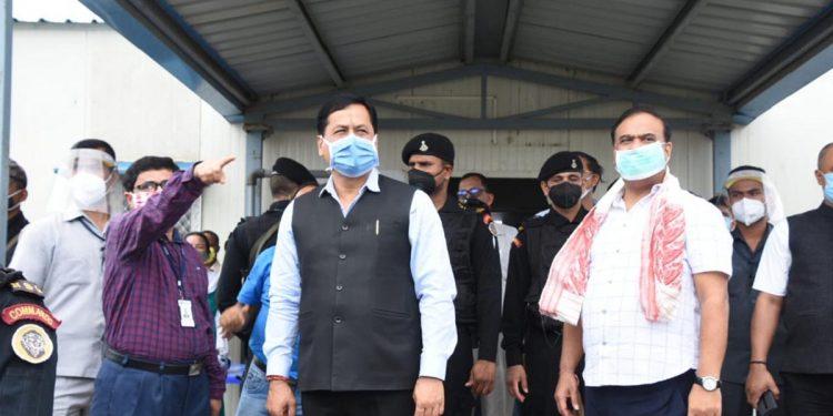 Assam CM Sarbananda Sonowal visiting the AIIMS construction site at Changsari and taking stock of progress of construction on Sunday.