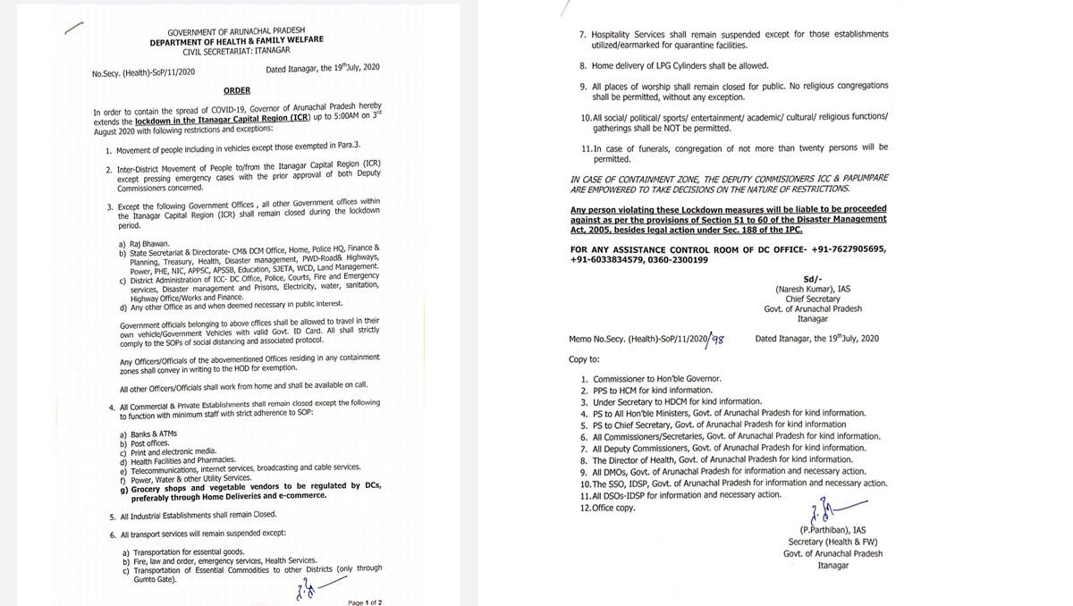 Arunachal: Lockdown in Itanagar extended till August 3 3