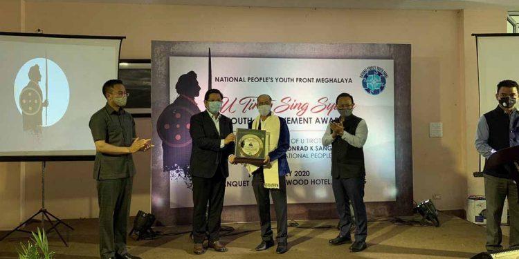 Meghalaya CM Conrad Sangma presenting the U Tirot Sing Syiem Youth Achievement Award. Image credit: Twitter