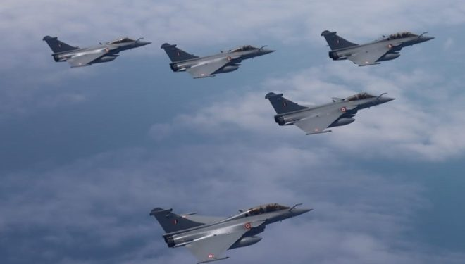 Five Rafale fighter jets in Indian airspace.