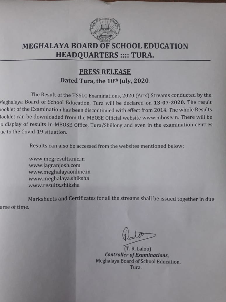 Meghalaya: MBOSE to declare HSSLC examination Arts result on July 13 1