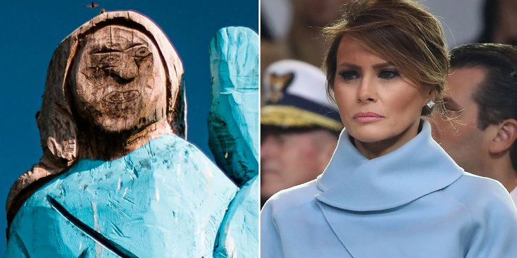 US First Lady Melania Trump's wooden sculpture set on fire 1