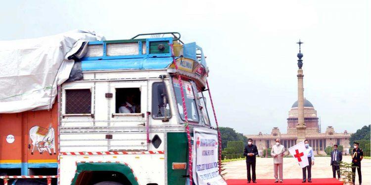 President Kovind flags off trucks carrying flood relief supplies