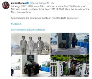 Mizoram pays glowing tribute to Laldenga on 30th death anniversary 2