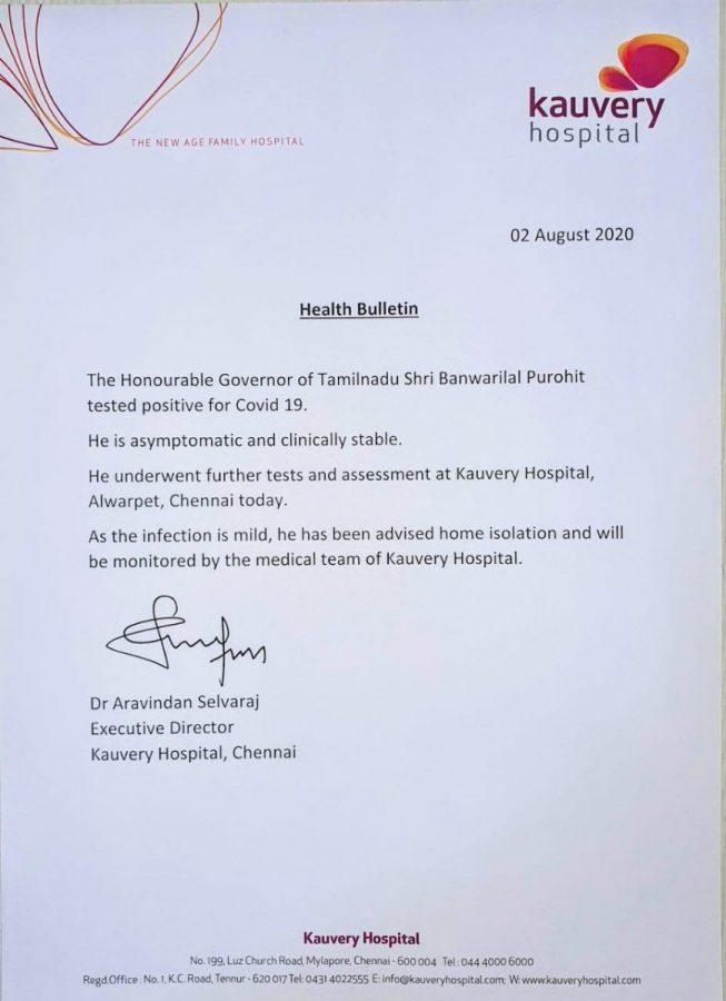 Tamil Nadu Governor Banwarilal Purohit tests COVID19 positive  4