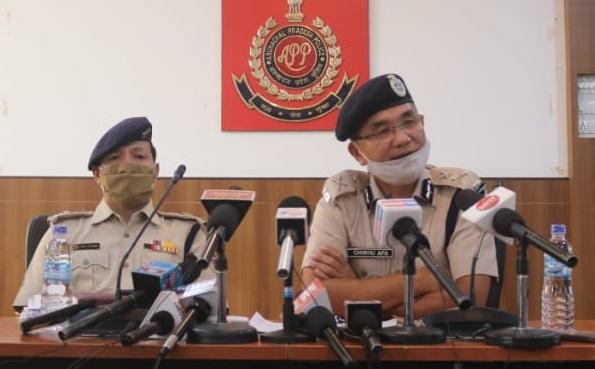 IGP Chuku Apa addressing the press conference at Itanagar.