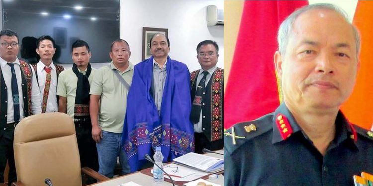 AB Mathur in a group photograph and (right) Lt Gen Himalaya Singh (retd).