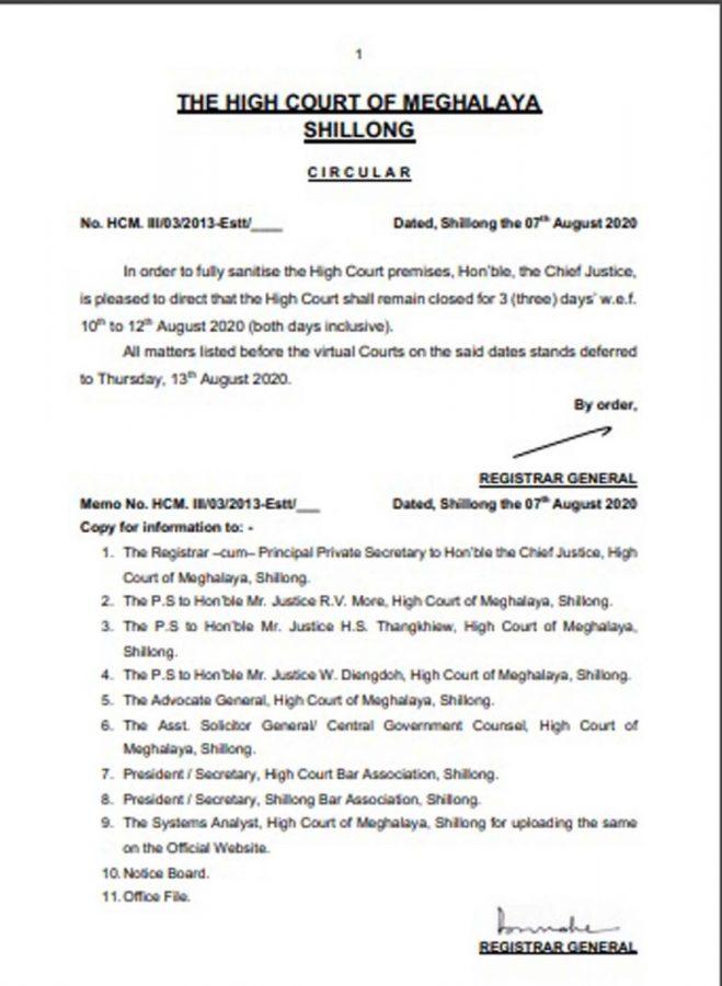 Meghalaya High Court circular