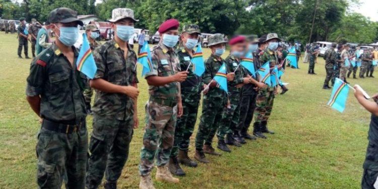 NSCN (I-M) cadres holding Naga national flag during Naga Independence Day celebration on August 14.