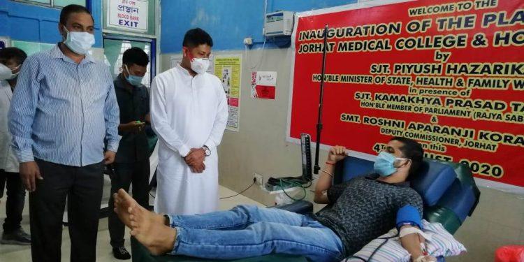 Assam junior health minister Pijush Hazarikaon Tuesday inaugurated a plasma bank at Jorhat Medical College and Hospital (JMCH) in Jorhat.