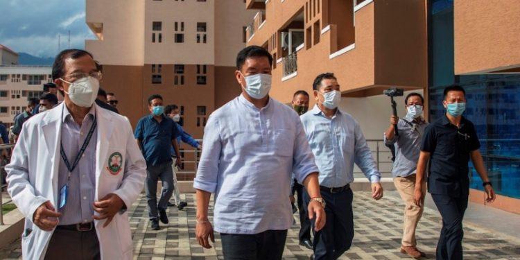 CM Pema Khandu was at Chimpu to inspect the newly established Covid-19 hospital.