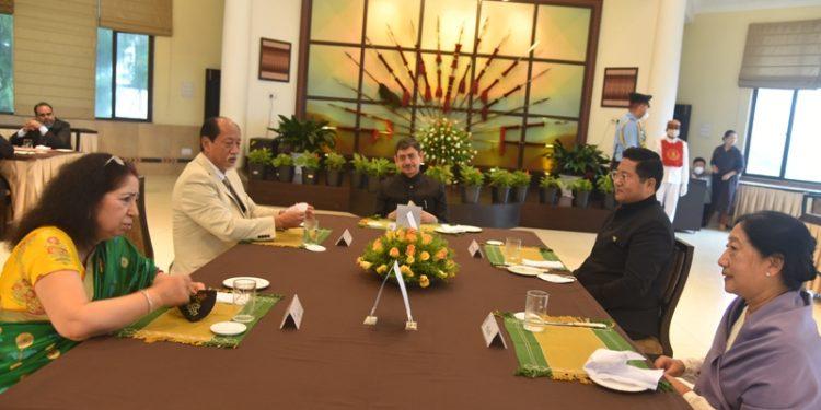 Governor RN Ravi with chief minister Neiphiu Rio, Speaker Sharingain Longkumer and others at Raj Bhawan in Kohima on Saturday.