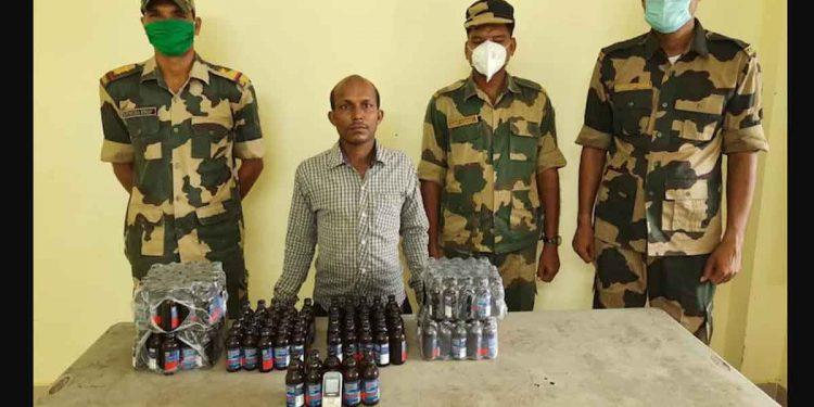 BSF apprehended an Indian smuggler and seized 1540 Phensedyl bottles.