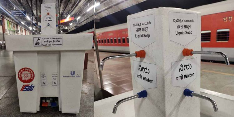 Touch free handwash kiosk by Indian Railways. Image credit: Twitter