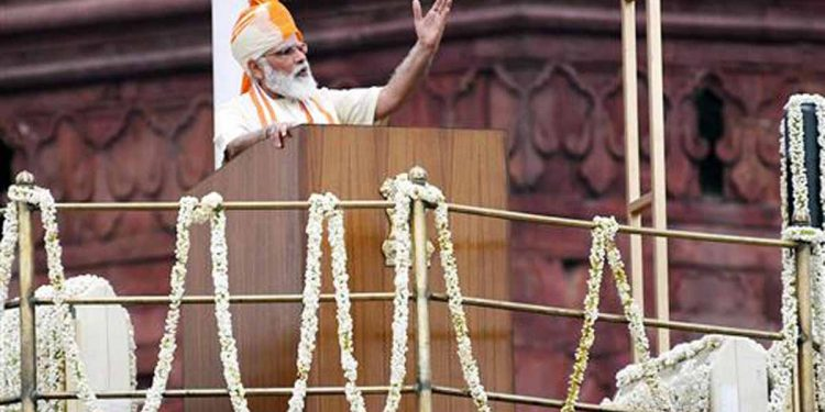 PM Narendra Modi addressing the nation from the Red Fort on the occasion of 74th Independence Day. Image credit: PIB
