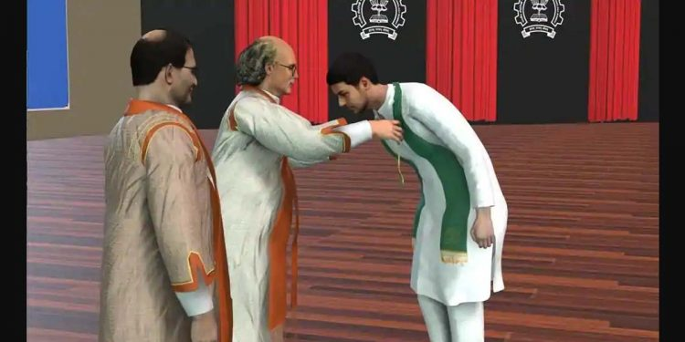 (From left) Virtual avatars of IIT-B director Subhasis Chaudhuri and Nobel laureate Duncan Haldane, who confers a medal to a graduate. Image credit: Hindustan Times