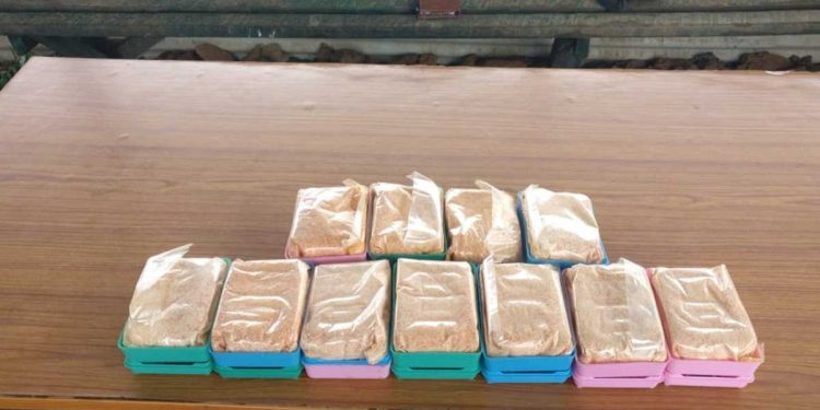 Brown Sugar recovered by Assam Rifles in Manipur. Image: Northeast Now