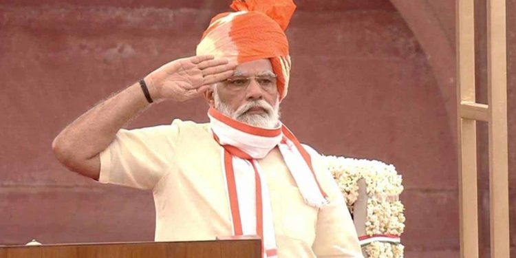 PM Narendra Modi during the 74th Independence Day celebrations on Saturday. Image credit: The Indian Express