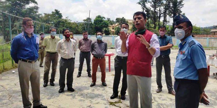 Manipur education minister Dr Thokchom Radheshyam Singh in Sainik School Imphal. Image: Northeast Now