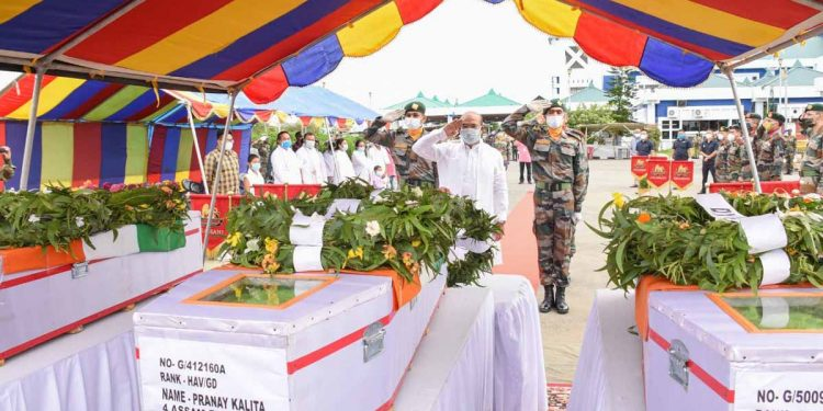 Manipur CM N Biren Singh paying his last respects to the martyred Assam Rifles soldiers