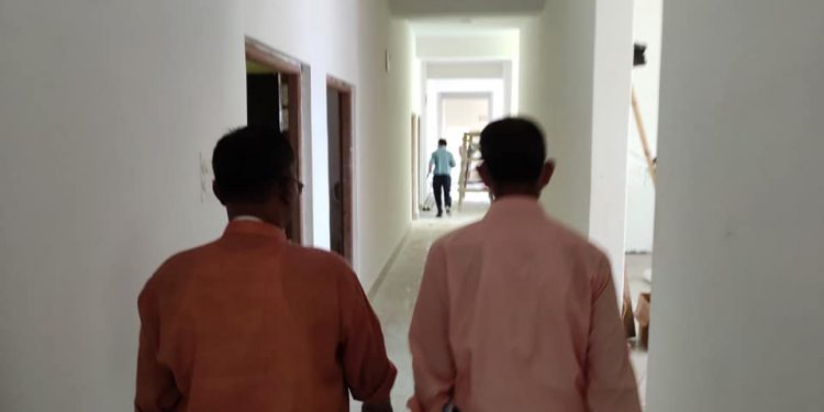 Manipur health minister inspecting construction of Ayush hospital at Keirao. Image: DIPR, Manipur