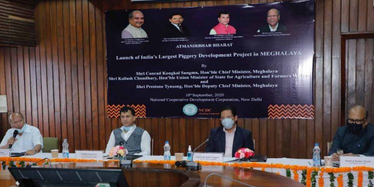 Meghalaya CM Conrad Sangma and other dignitaries during the launch. Image: Northeast Now