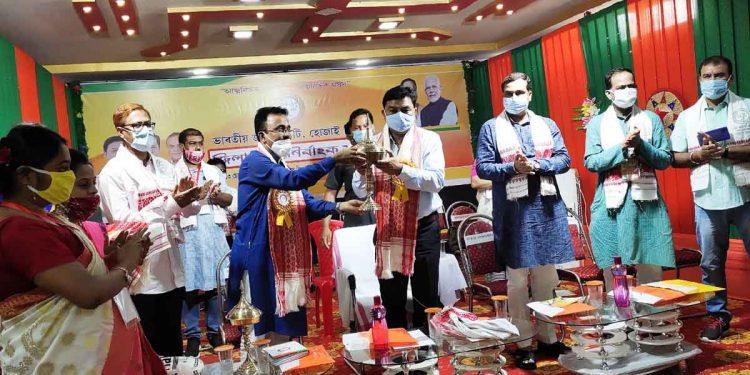Assam BJP president Ranjit Dass in Hojai on Sunday. Image: Northeast Now