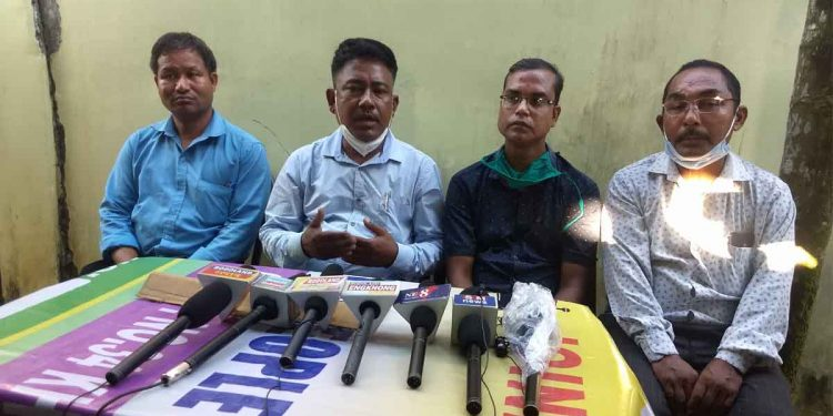 UPPL election observer Manmohan Boro (second from left) addressing a press meet on Thursday. Image: Northeast Now