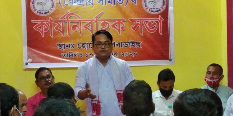 ABBYC president Tirtha Ranjan Goswami addressing the central executive meet in Tangla on Sunday. Image: Northeast Now