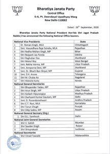 Assam's Dilip Saikia, Nagaland's M Kikon, M Chuba Ao in JP Nadda's central BJP team; Ram Madhav out 1