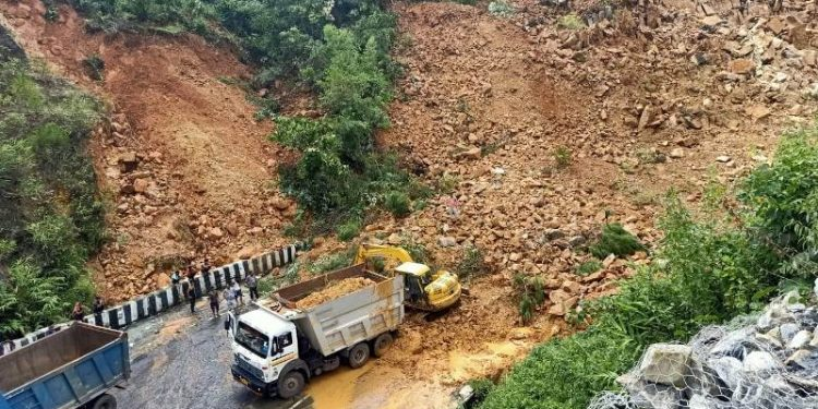 The landslide occurred on Saturday due to the collapse of big stones from a stone quarry near the bypass road.