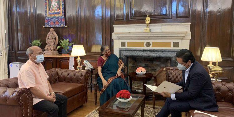 Meghalaya chief minister Conrad K. Sangma and deputy chief minister Prestone Tynsong with Union finance minister Nirmala Sitharaman.