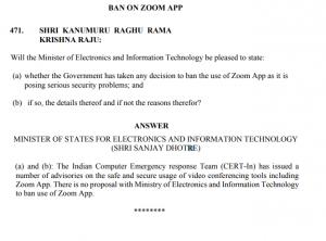 No proposal to ban use of Zoom App: Centre tells Lok Sabha 4