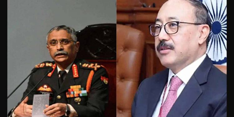 Chief of Indian Army General MM Naravane (left) and Foreign Secretary Harsh Vardhan Shringla (right)