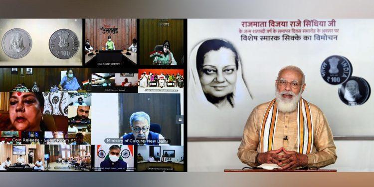 Prime Minister Narendra Modi releases the special commemorative coin of Rs 100 denomination to celebrate the Birth Centenary of Rajmata Vijaya Raje Scindia through video conference. Image credit: PIB