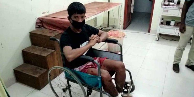 Injured Jiten Reang. Image: Northeast Now