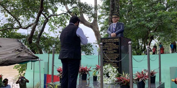 Meghalaya CM Conrad Sangma unveiling a new bust of Captain WA Sangma