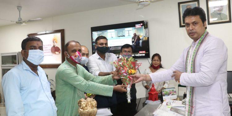 Teachers' delegation with Tripura CM Biplab Deb