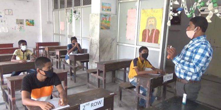 Students in Tripura attending classes on Monday. Image: Northeast Now