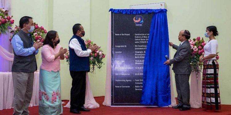 Mizoram CM Zoramthanga inaugurating nine storage godowns