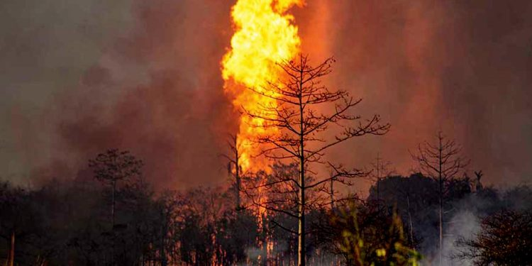 Baghjan oil well number 5 on fire