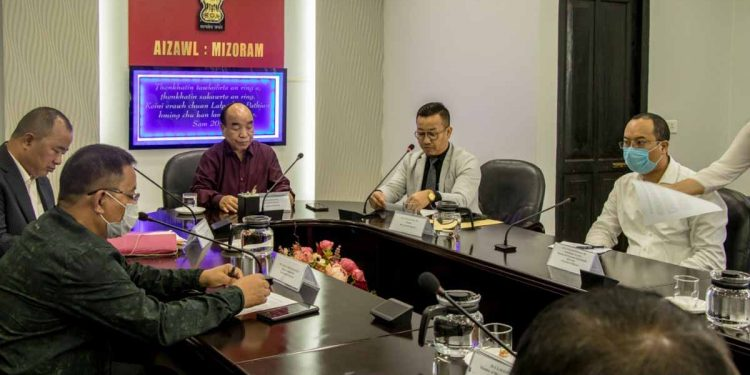 Mizoram CM Zoramthabga with other senior officials during a meeting on Tuesday