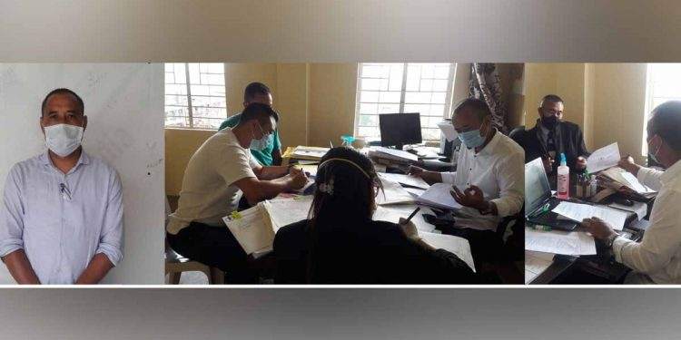 Candidates for by-election to Southern Angami I Assembly constituency file nominations at Jakhama SDO (C) office on October 16. Image: Northeast Now