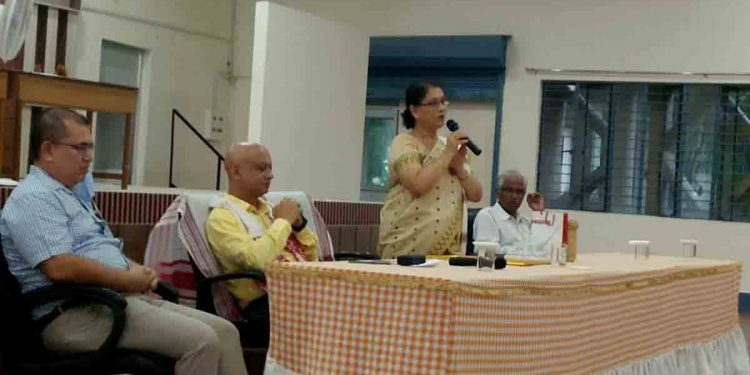 Assam Women's University out-going VC Mrinalini Goswami during her farewell. Image: Northeast Now