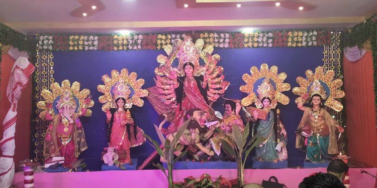 18 hands Durga idol in Hojai