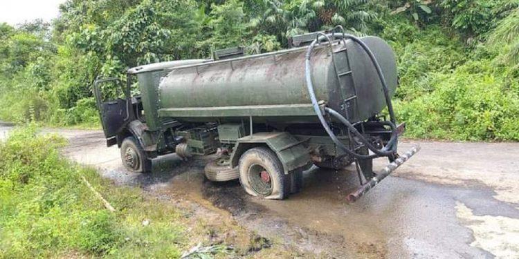 Ambushed water tanker of Assam Rifles